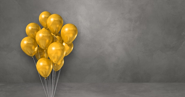 Kilka żółtych balonów na tle szarej ściany. baner poziomy. renderowanie ilustracji 3d