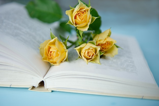 Kilka żółtych róż na otwartej książce na niebieskiej powierzchni