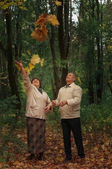 Kilku emerytów spaceruje po jesiennym parku, wyrzucając żółte liście.