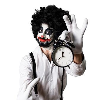 Killer clown gospodarstwa rocznika zegara