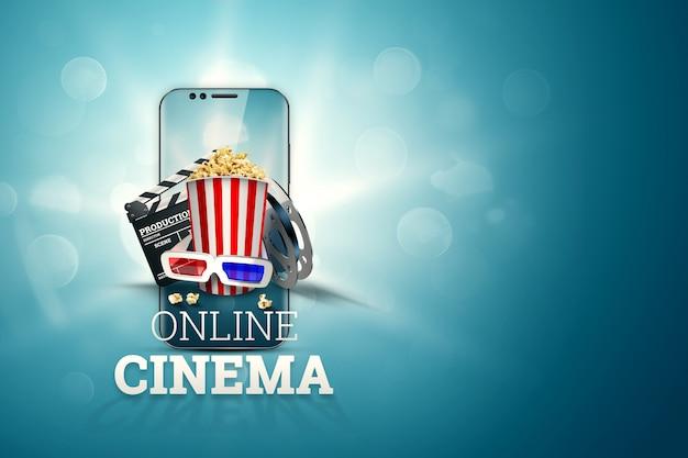 Kino, atrybuty kina, kina, filmy, oglądanie online, popcorn i okulary.