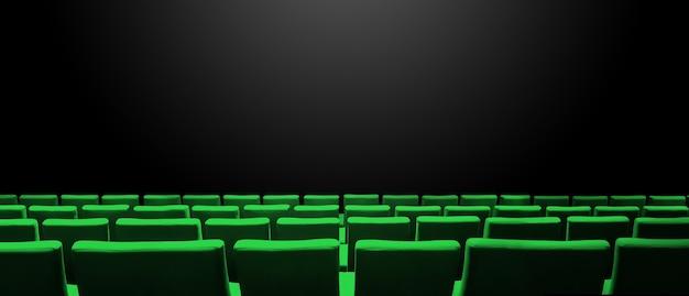 Kino kino z zielonymi rzędami siedzeń i czarnym