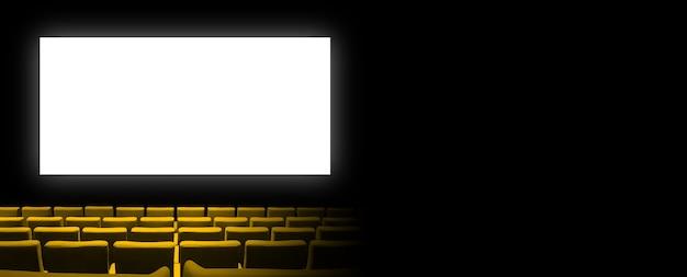 Kino kinowe z siedzeniami z żółtego aksamitu i pustym, białym ekranem.