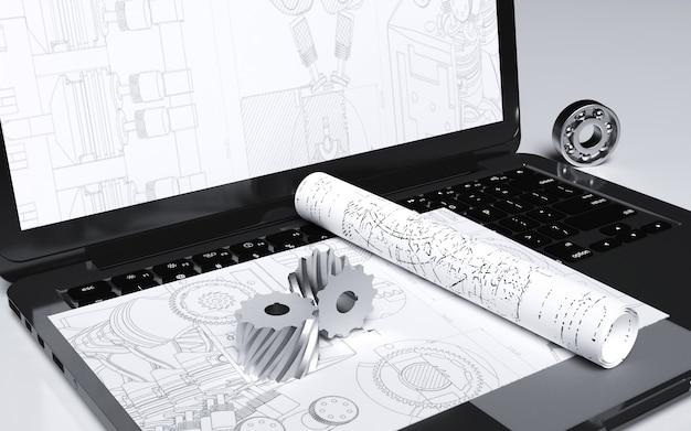 Kino renderowania abstraktu z laptopem dla planów budowy budynku