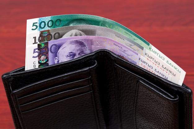 Kirgiskie pieniądze są w portfelu