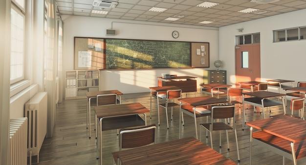 Klasa szkolna z drewnianą podłogą, nikogo w pobliżu. renderowania 3d.