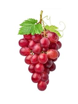 Klaster czerwonych winogron z zielonymi liśćmi na białym tle.