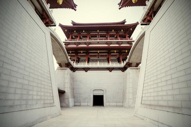 Klasyczna architektura w xi'an, prowincja shaanxi