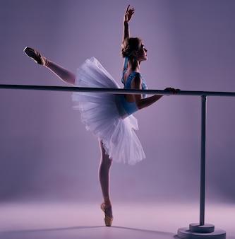 Klasyczna balerina pozuje przy baletnicą