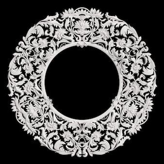 Klasyczna biała okrągła rama z ornamentem na ciemnoszarej ścianie