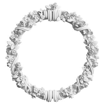 Klasyczna biała rama z wystrojem ornamentu na białym tle