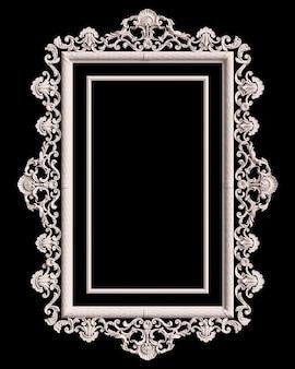 Klasyczna biała ramka z dekoracją ornament na białym na czarnym tle. cyfrowa ilustracja. renderowanie 3d