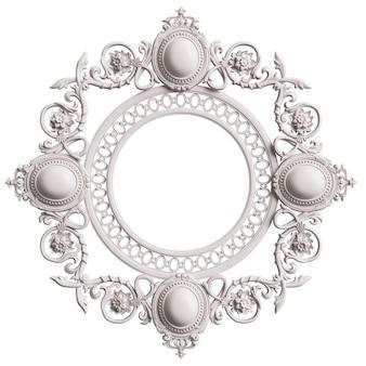 Klasyczna biała ramka z wystrojem ornament na białym tle. cyfrowa ilustracja. renderowanie 3d