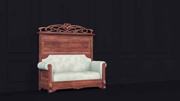 Klasyczna czarna sofa ścienna do luksusowego stylu życia. nowoczesne projektowanie wnętrz biznesowych.