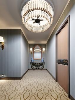 Klasyczna drewniana konsola z lustrem w złotej ramie na ścianie i ozdobnymi niebieskimi wazonami. renderowania 3d.