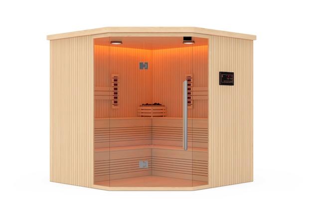 Klasyczna drewniana sauna fińska na podczerwień na białym tle. renderowanie 3d