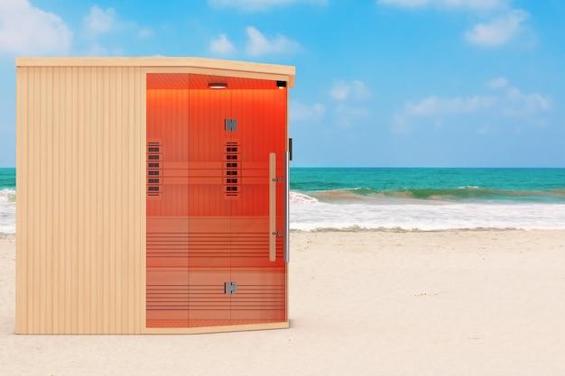 Klasyczna drewniana sauna fińska na podczerwień na ocean lub morze sand beach ekstremalne zbliżenie. renderowanie 3d