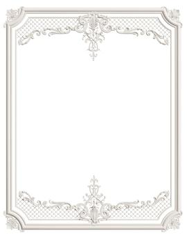 Klasyczna formowana biała ramka z ornamentem do klasycznego wnętrza na białym tle
