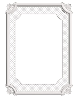 Klasyczna formowana biała ramka z ornamentem na białym tle