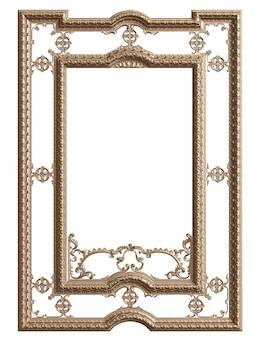 Klasyczna rama lustra na białym tle. renderowania 3d