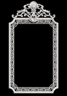 Klasyczna rama z wystrojem ornament na białym tle na czarnej ścianie
