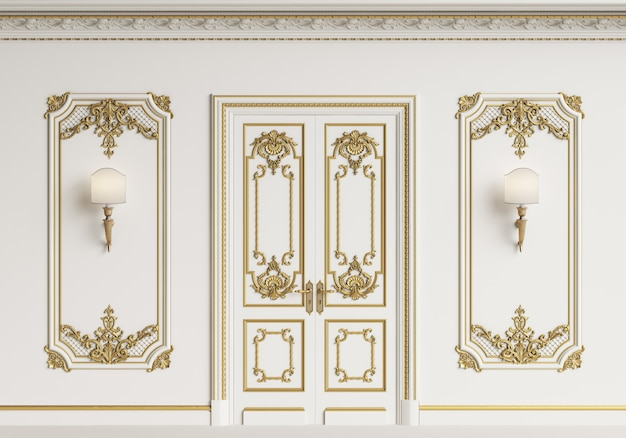 Klasyczna ściana wewnętrzna. listwy, ozdobny gzyms, drzwi. renderowania 3d