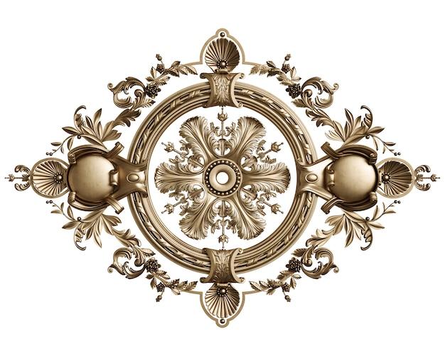 Klasyczna złota okrągła rama z wystrojem ornamentu na białym