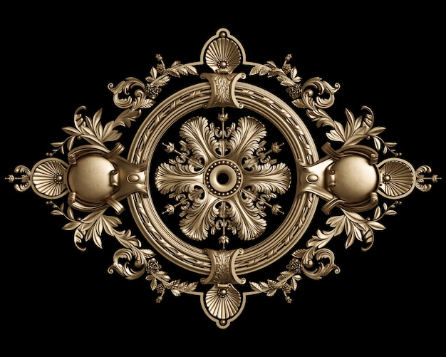 Klasyczna złota okrągła rama z wystrojem ornamentu na czarnym tle