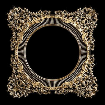 Klasyczna złota rama z ornamentem na czarnej ścianie