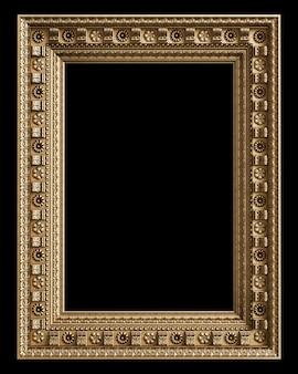Klasyczna złota rama z wystrojem ornament na białym na czarnym tle. cyfrowa ilustracja. renderowanie 3d