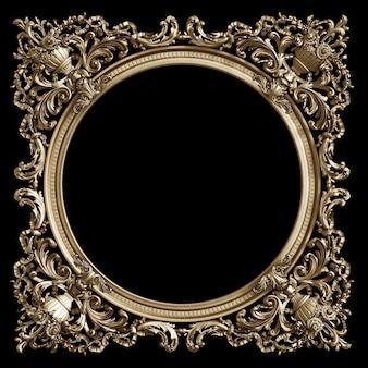 Klasyczna złota rama z wystrojem ornament na białym na czarnym tle
