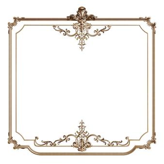 Klasyczna złota rama z wystrojem ornament na białym tle. cyfrowa ilustracja. renderowanie 3d