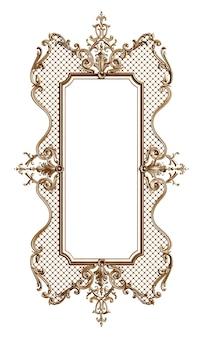 Klasyczna złota rama z wystrojem ornament na białym tle renderowania 3d