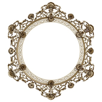 Klasyczna złota rama z wystrojem ornament na białym tle