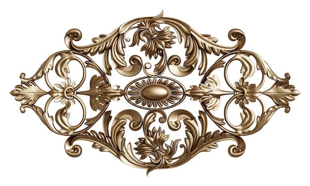 Klasyczna złota rama z wystrojem ornamentu na białym