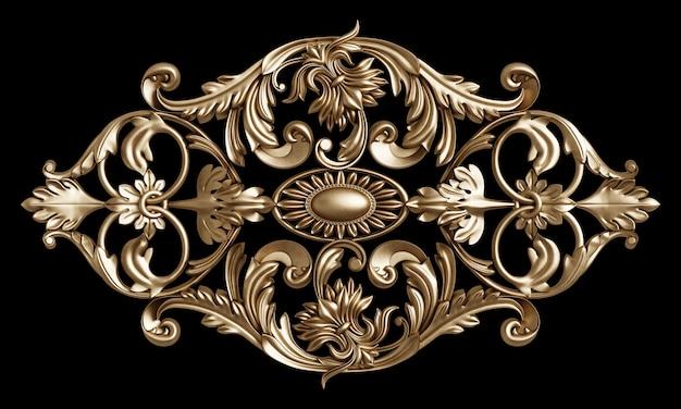 Klasyczna złota rama z wystrojem ornamentu na czarnym tle