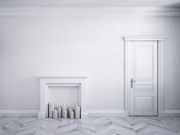 Klasyczne białe wnętrze z drzwiami, parkietem i kominkiem ze świecami. ilustracja renderowania 3d
