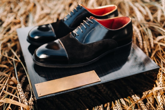 Klasyczne czarne buty męskie są w terenie na co. buty są na pudełku.