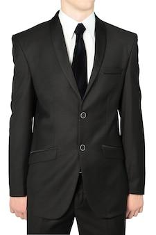 Klasyczne czarne garnitury ślubne dla mężczyzn, izolowane na białym tle.