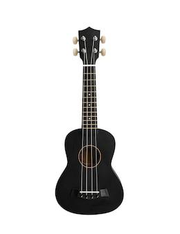 Klasyczne czarne ukulele koncertowe jest izolowana na białym tle. gitara hawajska