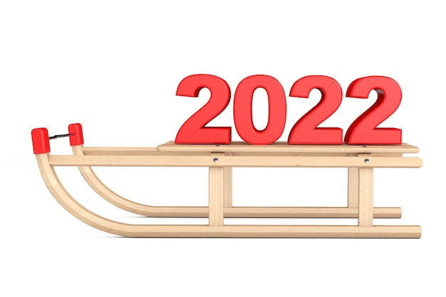 Klasyczne drewniane sanki z 2022 znakiem nowego roku na białym tle. renderowanie 3d