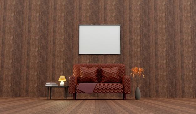 Klasyczne drewniane wnętrze z brązową skórzaną sofą capitone. renderowanie 3d