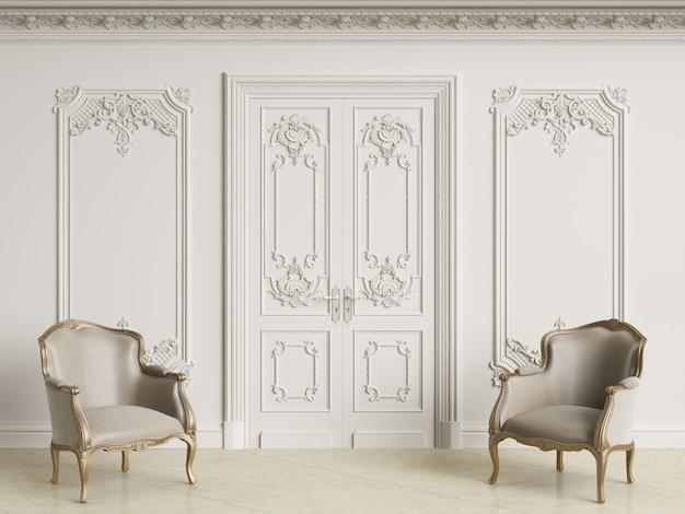 Klasyczne fotele w stylu barokowym w klasycznym wnętrzu. ściany z listwami i zdobiony gzyms. podłoga marmurowa. renderowania 3d