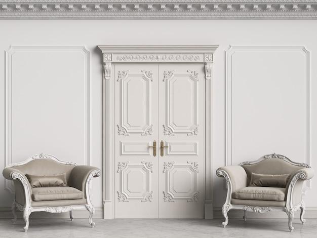 Klasyczne fotele w stylu barokowym w klasycznym wnętrzu. ściany z listwami i zdobionym gzymsem. drzwi z wystrojem. podłoga marmurowa. renderowania 3d