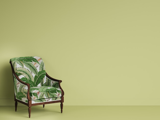 Klasyczne krzesło geen w zielonym pokoju z miejsca kopiowania. renderowania 3d