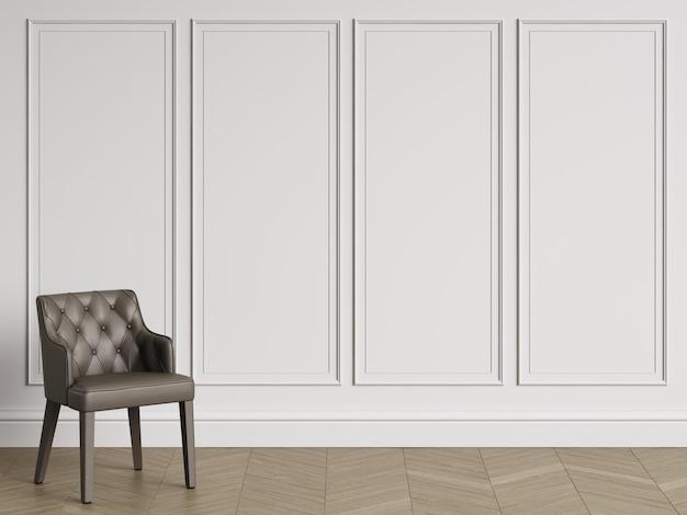 Klasyczne krzesło w klasycznym wnętrzu z miejsca do kopiowania. białe ściany z listwami. parkiet podłogowy w jodełkę. renderowania 3d