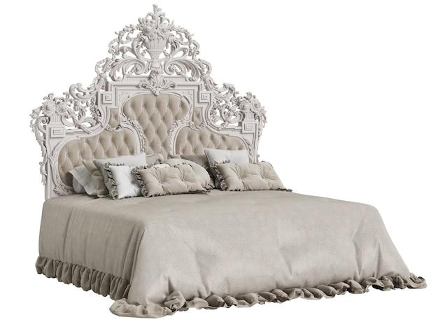 Klasyczne łóżko z rzeźbionym wezgłowiem na białym tle