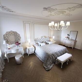 Klasyczne luksusowe wnętrze sypialni w beżowych kolorach z buduarem i oknem. renderowanie 3d