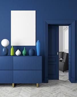 Klasyczne, nowoczesne, skandynawskie wnętrze w kolorze ciemnoniebieskim z wazonami, komodą, konsolą, drzwiami, lampą, ramą, drewnianą podłogą. ilustracja renderowania 3d