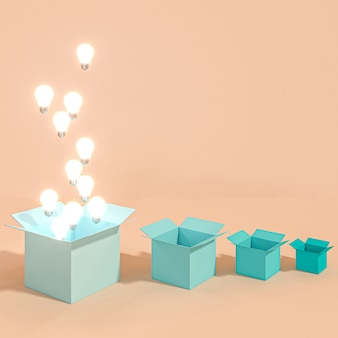 Klasyczne oświetlone żarówki wychodzące z pudełka